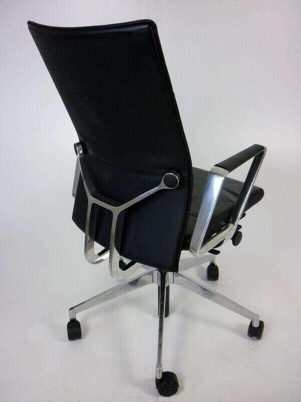 Black leather Girsberger Diagon task chairs