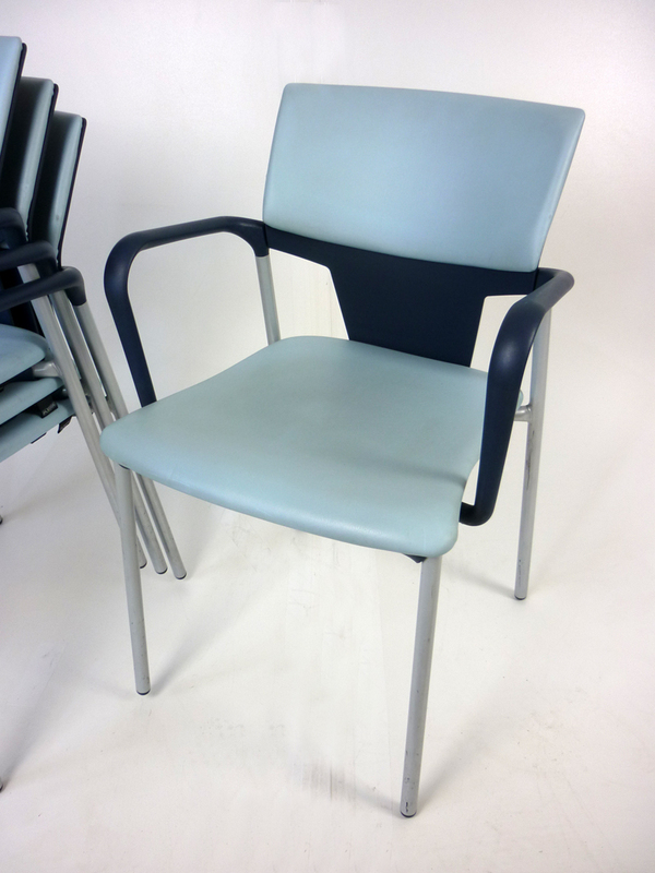 Light blue vinyl Pledge Ikon stacking chairs