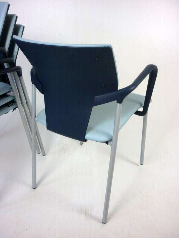 Light blue vinyl Pledge Ikon stacking chairs