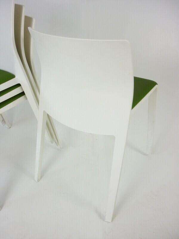 Green vinyl white stacking chairs