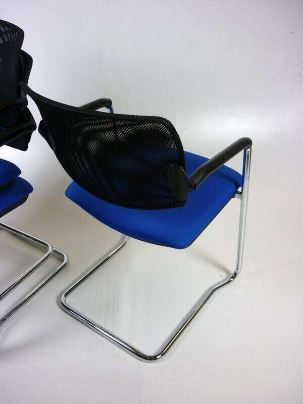 Blue mesh back OCEE Design Alina stacking meeting chair