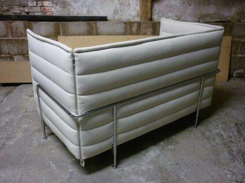 Vitra Alcove 2 seater sofa in Cream/black fabric