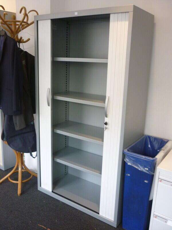 1850mm high JG Group silver/white tambour cupboard