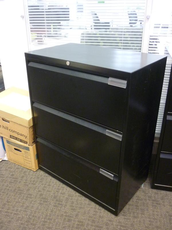 Black Bisley 3 drawer side filer