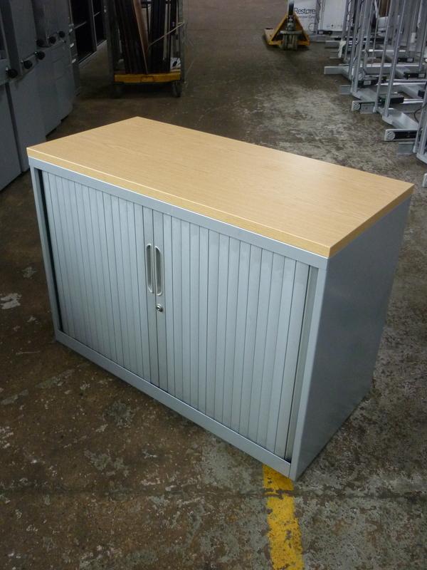 Desk high Bisley silver tambour cupboard with oak top