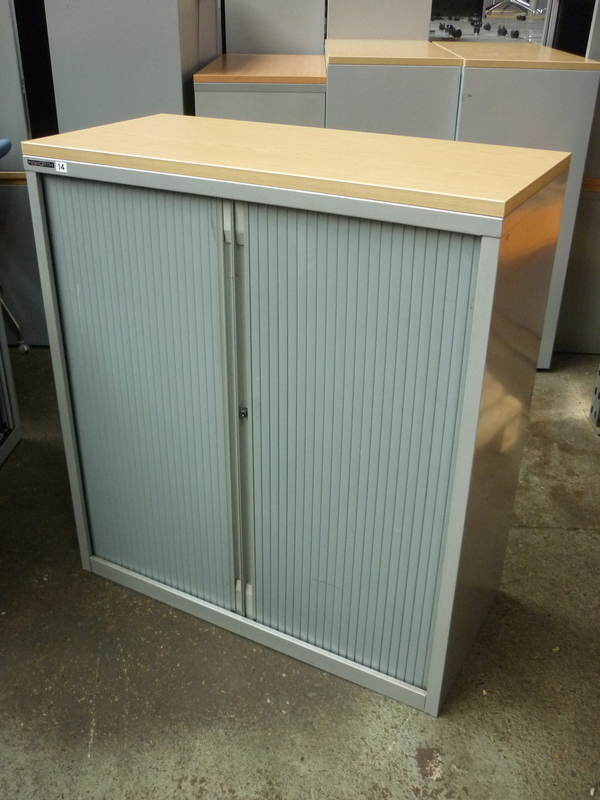 1100mm high Haworth silver tambour cupboard with oak top