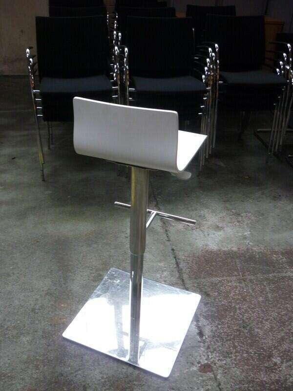 White height adjustable stools