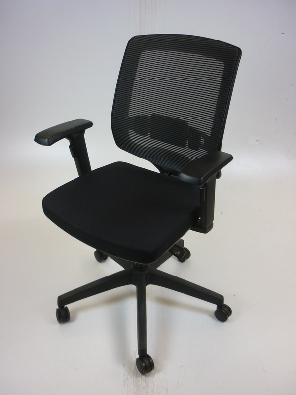Black mesh back operator chair with silver highlights