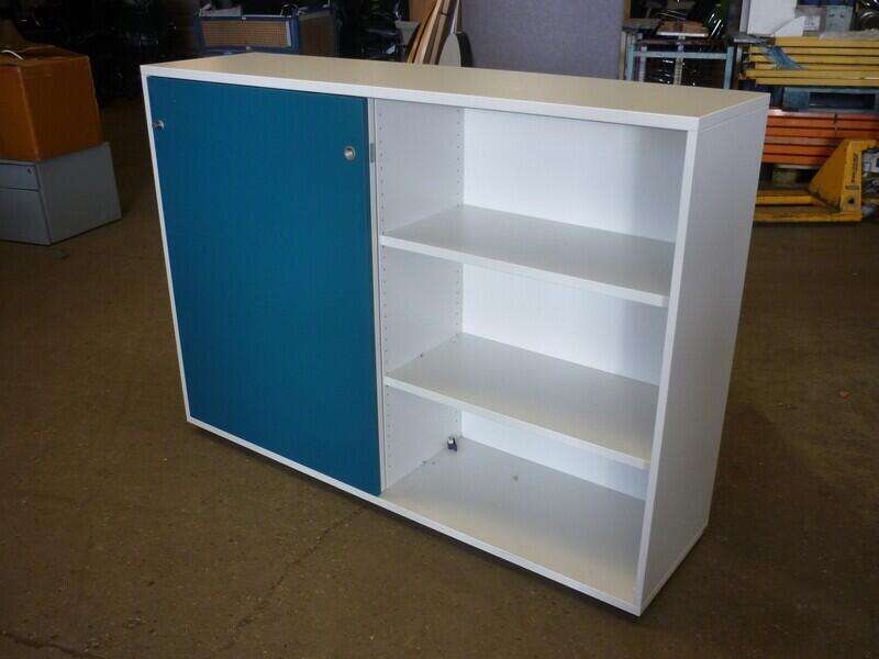 1160mm high white/turquoise sliding door cupboards