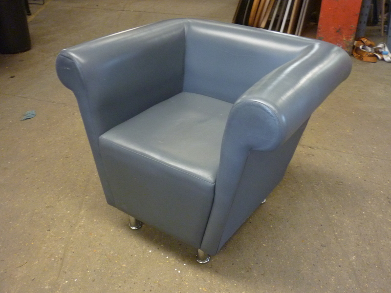Grey leather armchairs