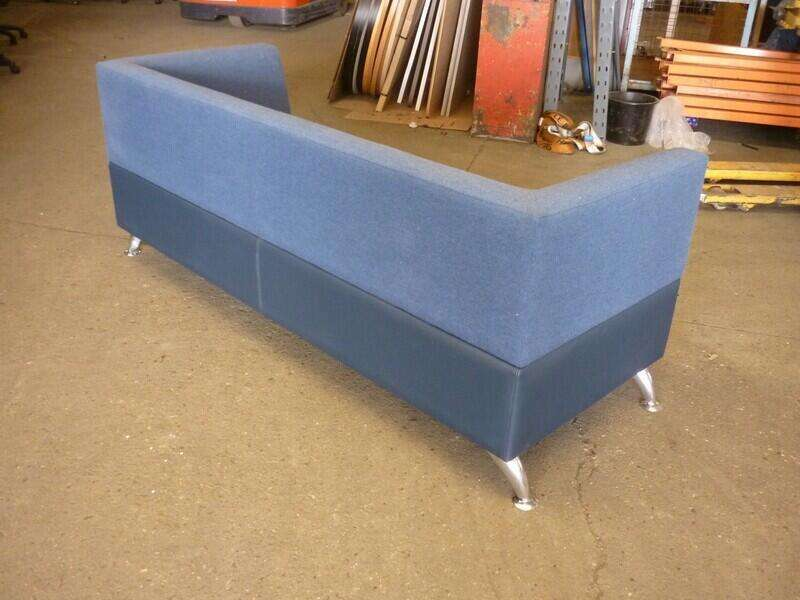 Blue faux leather and fabric 2 seater sofa