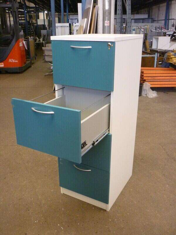 White/turquoise wood 4 drawer filing cabinet