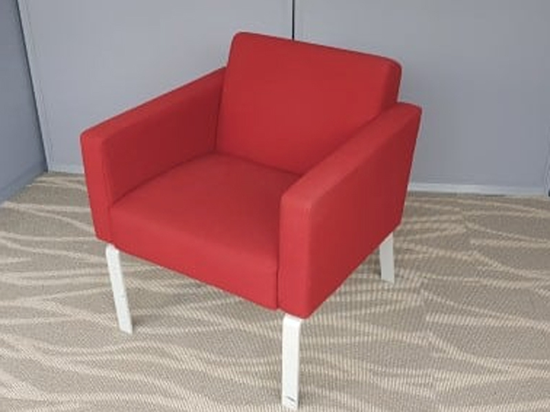 Red contemporary armchairs