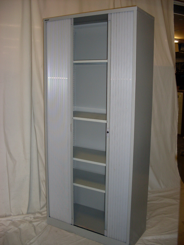 2230mm high Bisley grey tambour cupboard