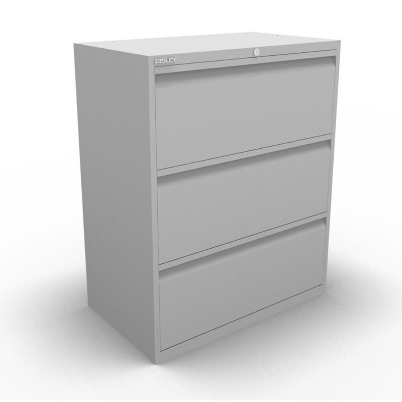 Grey Bisley 3 drawer side filer