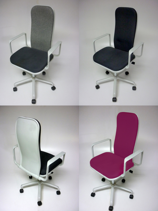 Reupholstered Fred Scott Supporto task chairs