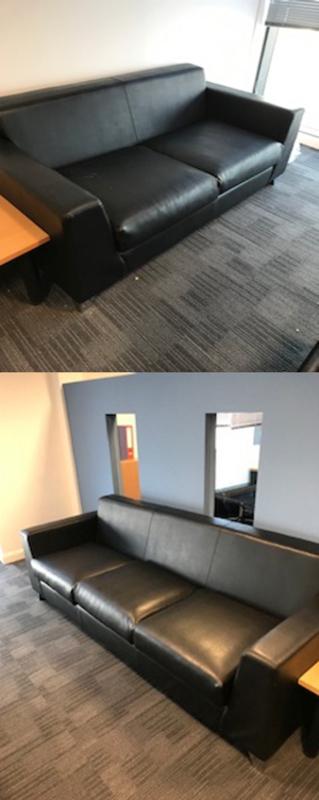 Pulse Design Synergy 2 amp 3 seater black leather sofas
