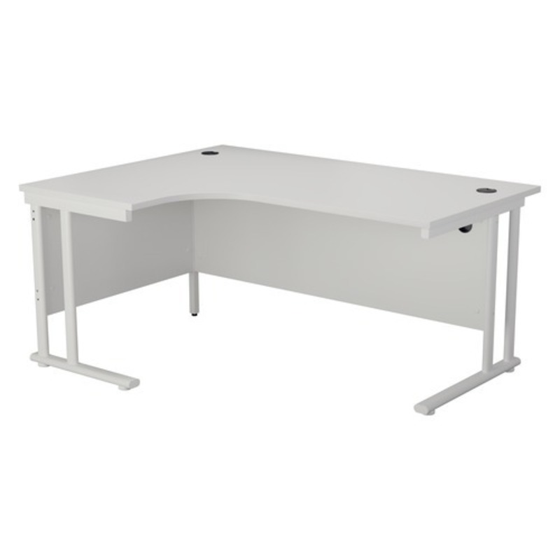 NEW TC white 1600x1200mm radial desk & desk high pedestal