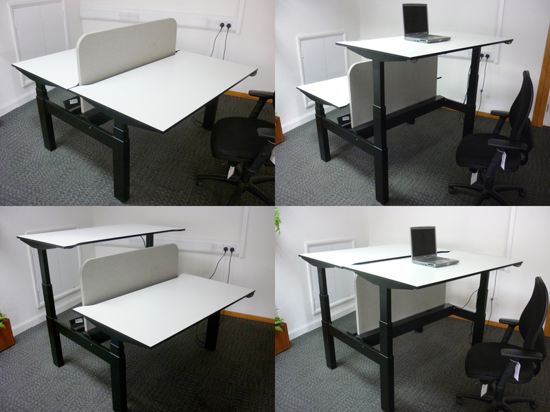 White Techo Lift 1400x800mm pairs of height adjustable desks