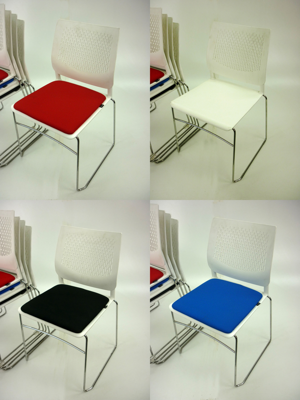 Pledge Vibe white stacking conference chairs