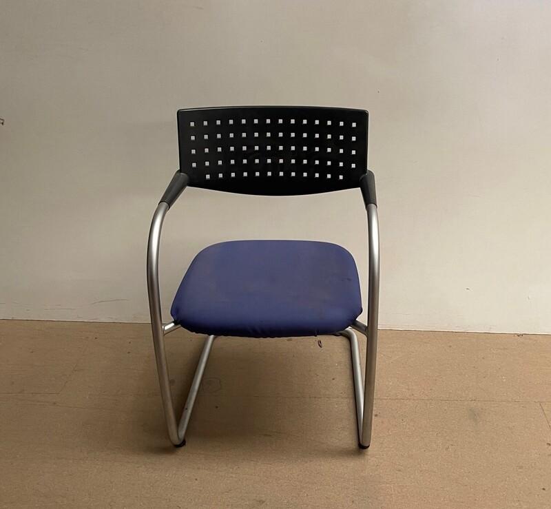 Blue and Black Vitra Visavis meeting chair