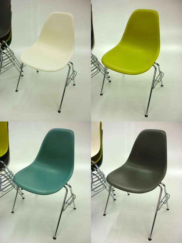 Vitra Eames DSS plastic stacking side chair with links