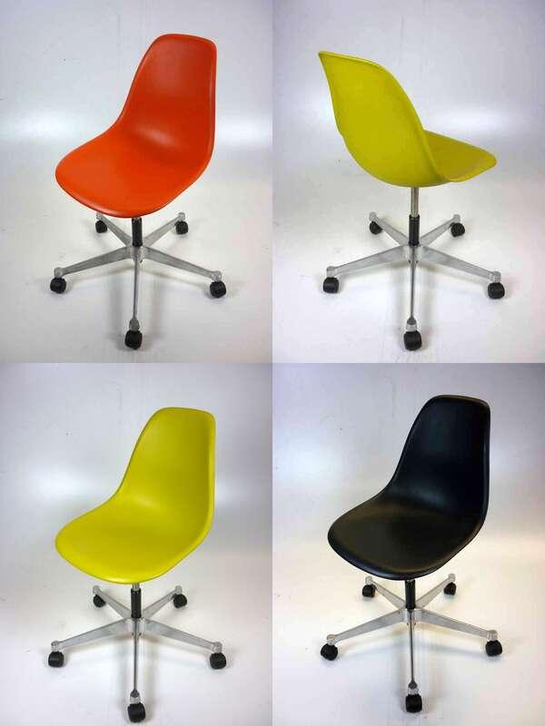Vitra Eames plastic PSCC side chairs on castors
