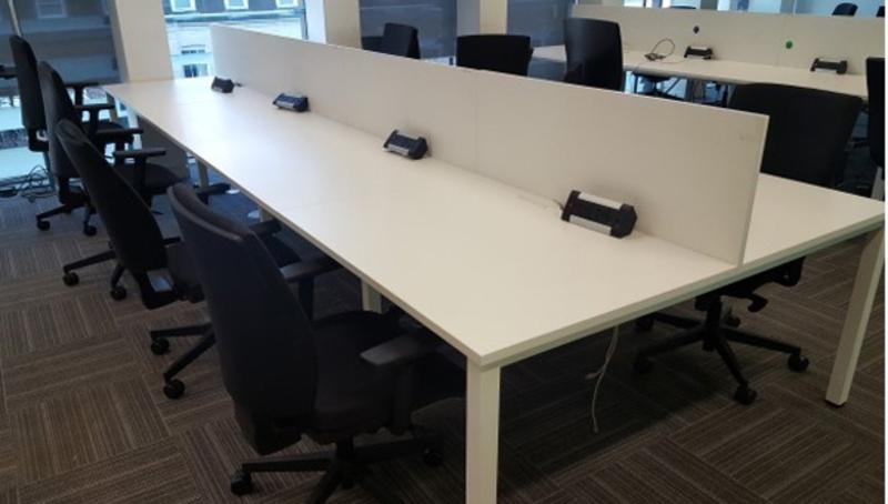 1100w x 800d mm White bench desk tops (CE). Price per person block of 4: