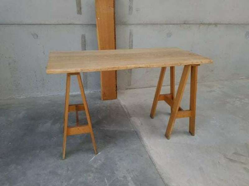 Rustic wood trestle poseur tables
