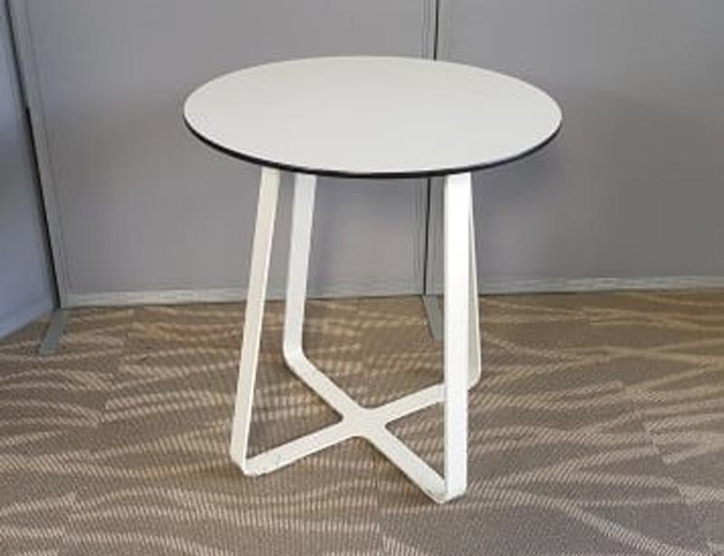 Crisscross 700mm diameter white tables