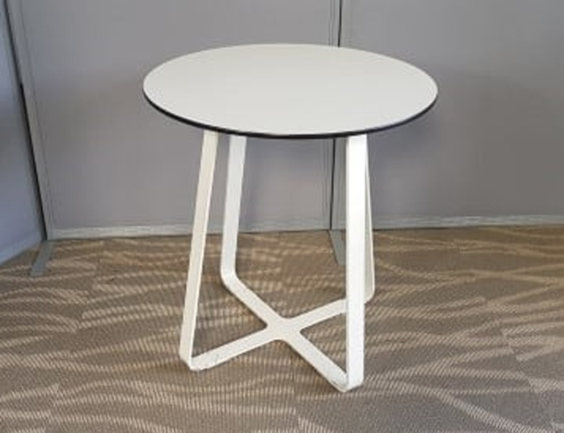Crisscross 700mm diameter white tables