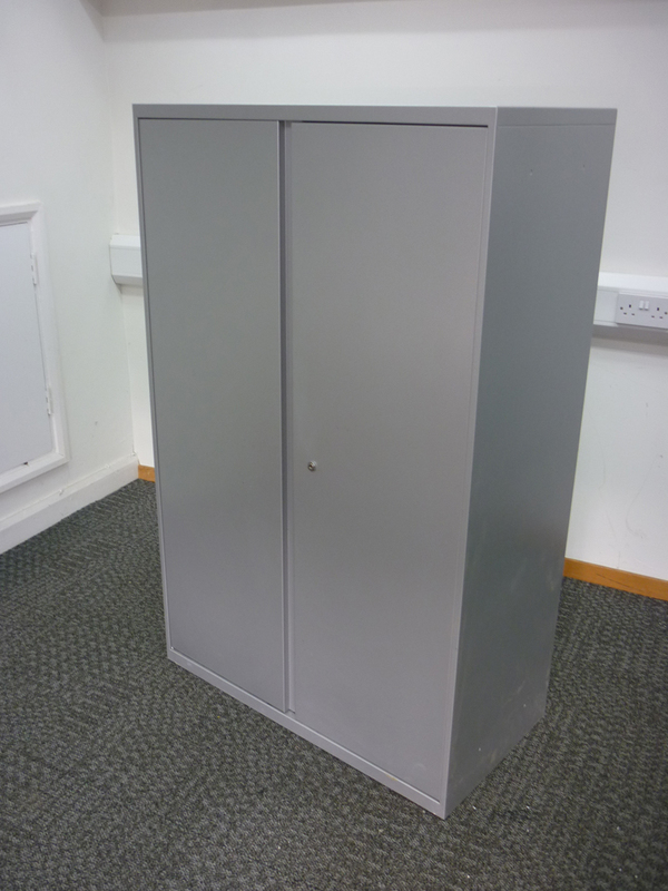 Office Speciality 1440mm high silver double door cupboard