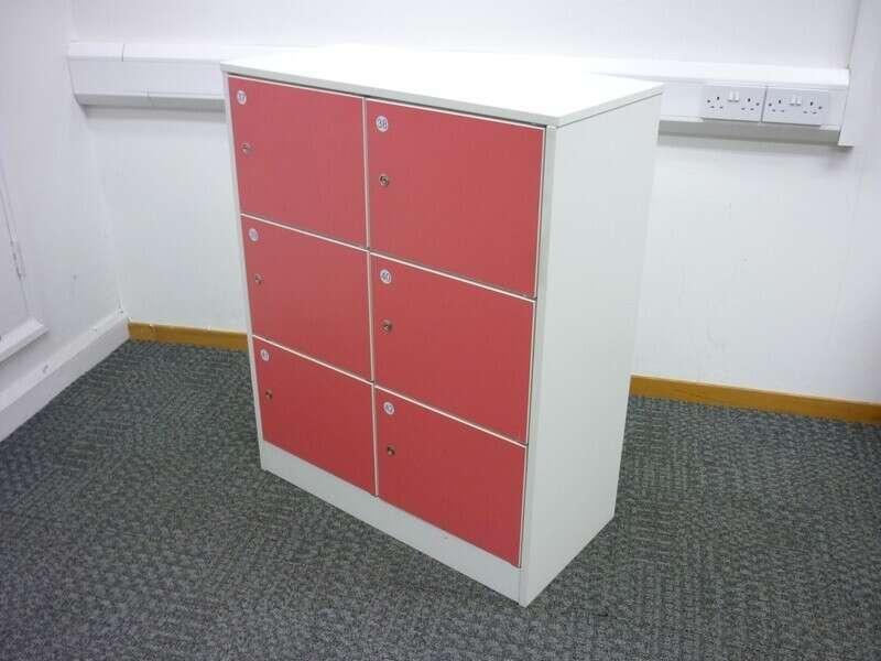 24 door white & pink locker unit