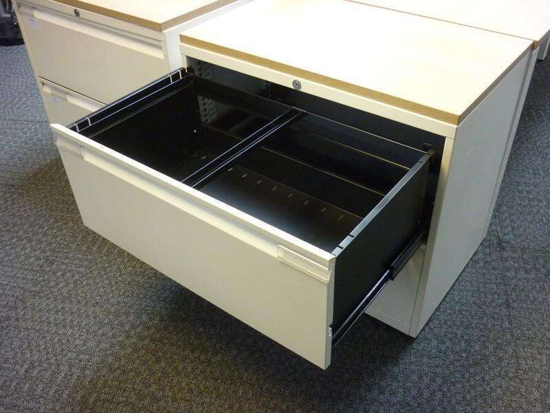 Bisley white/dark oak 800mm wide 2 drawer side filer