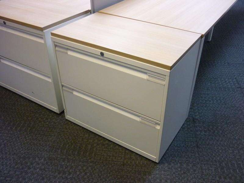 Bisley white/dark oak 1000mm wide 2 drawer side filer