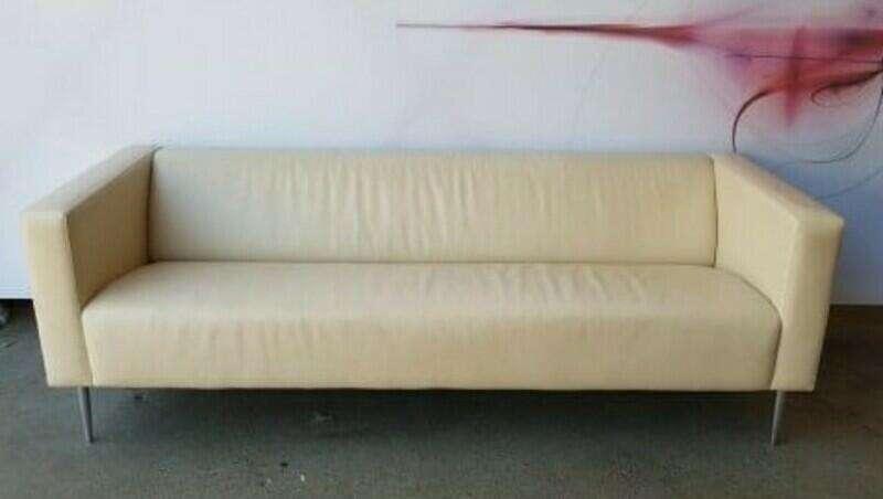 Davidson Highley cream leather single seat armchair