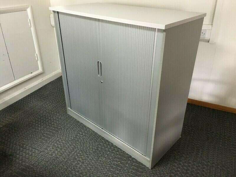 1200mm high silver grey Senator tambour cupboards