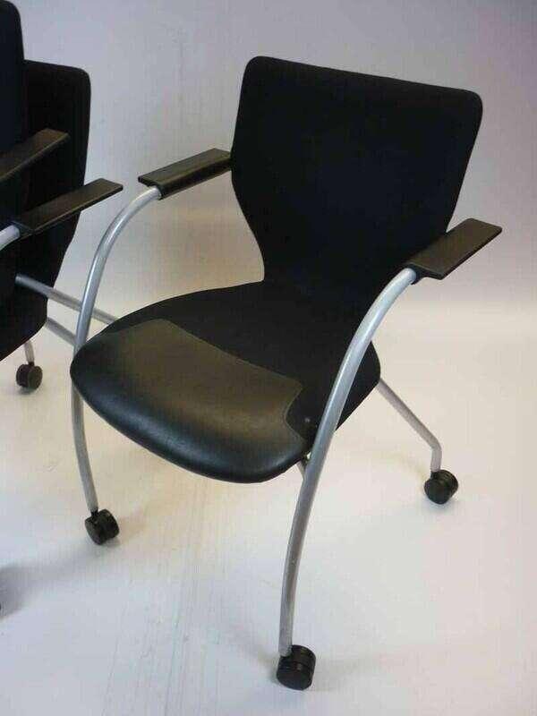 Orangebox X10 mobile chocolate brown meeting chairs