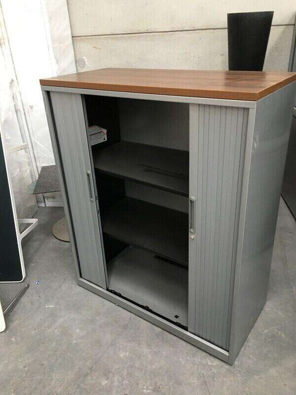 1280mm high Triumph silver/walnut tambour cupboard