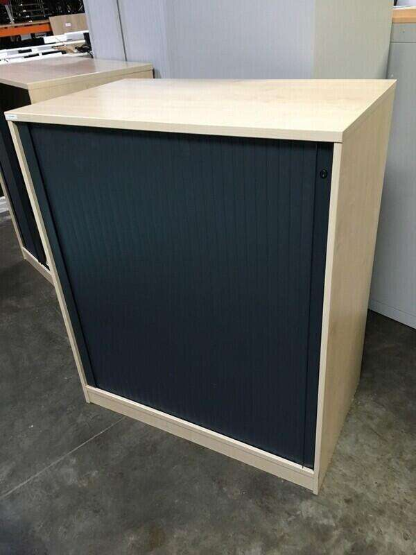 1600mm high maple/graphite tambour cupboard