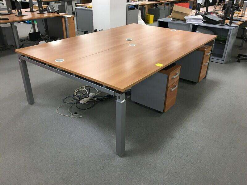 1200x800mm cherry Mobile Linnea bench desks, per user