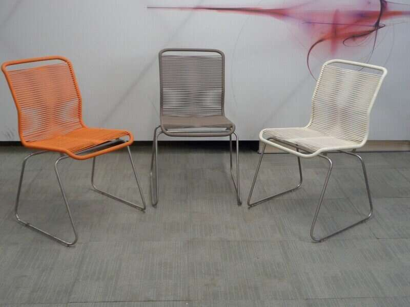Cream string and metal chair