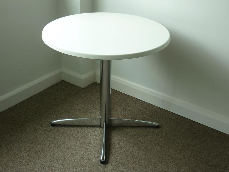 800mm diameter white café table (CE)