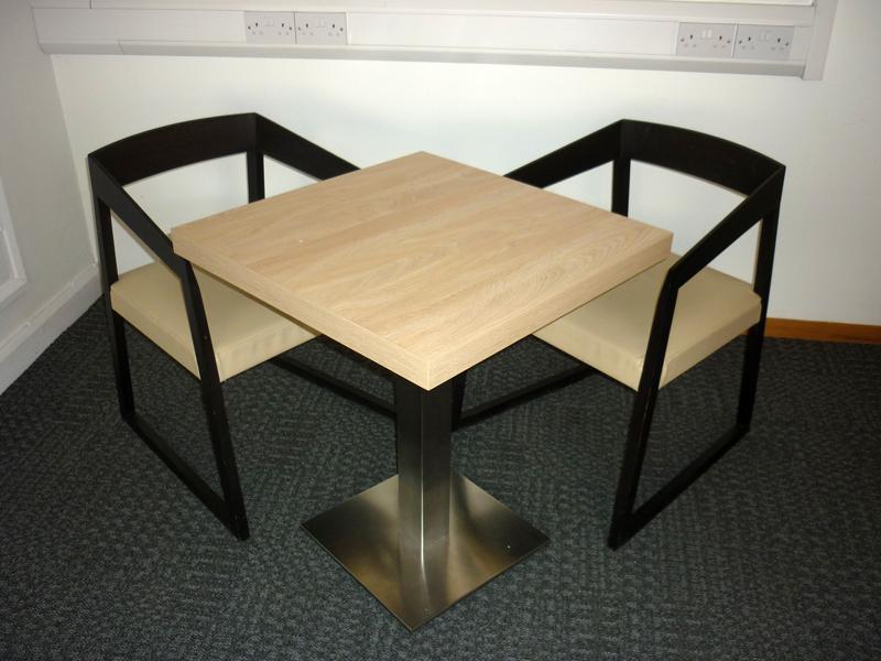 650 x 650mm light wood café style square tables (CE)