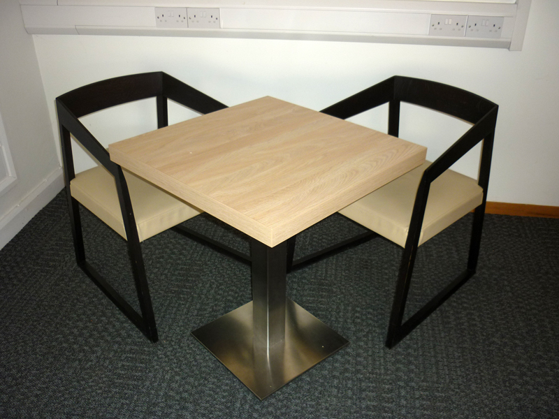 650x650mm light wood cafeacute style square tables
