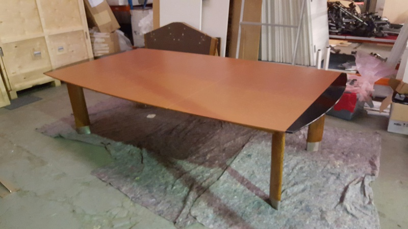 Brown leather top table