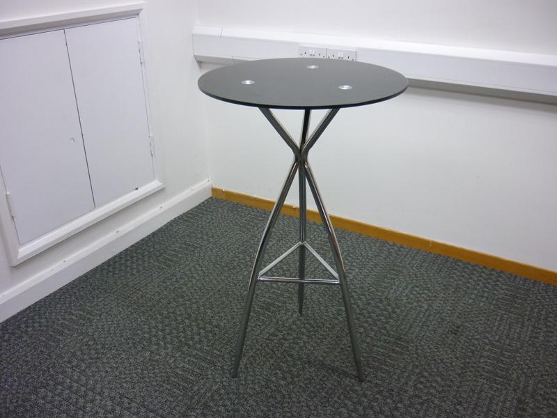 Black glass amp chrome poseur table