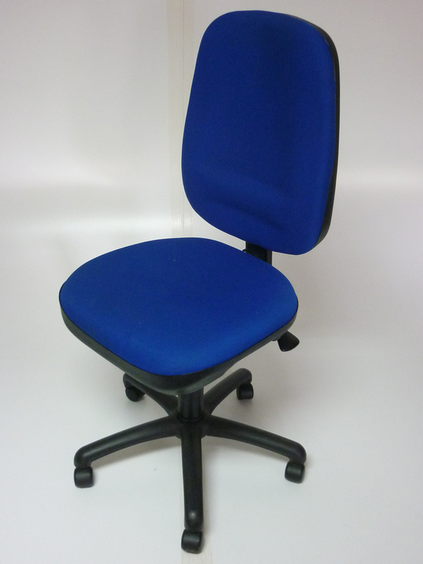 Royal blue high back task chair, no arms
