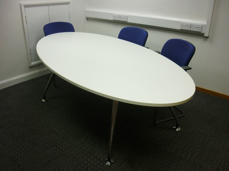 2400w x 1200d mm Oval white meeting table CE