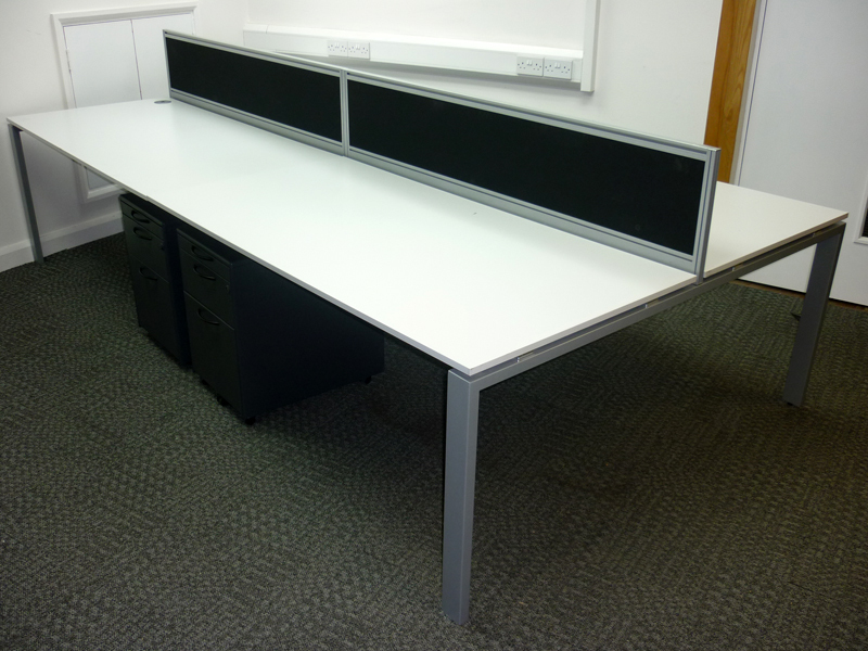 1600w x 800d mm white bench desking